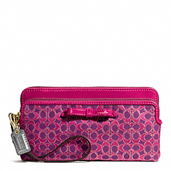 COACH POPPY SIGNATURE METALLIC OUTLINE DOUBLE ZIP WALLET - BRASS/MAGENTA/MAGENTA - F50282