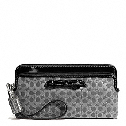 COACH POPPY SIGNATURE METALLIC OUTLINE DOUBLE ZIP WALLET - SILVER/CHARCOAL/CHARCOAL - F50282