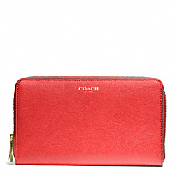 COACH SAFFIANO LEATHER CONTINENTAL ZIP WALLET - LIGHT GOLD/LOVE RED - F50285
