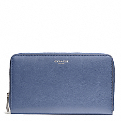COACH SAFFIANO LEATHER CONTINENTAL ZIP WALLET - SILVER/CORNFLOWER - F50285