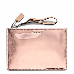 COACH MIRROR METALLIC LEATHER FLAT ZIP CASE - ONE COLOR - F50292
