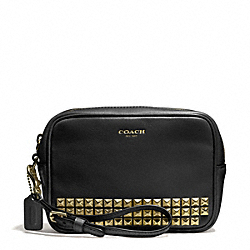 COACH STUDDED LEATHER FLIGHT WRISTLET - AB/BLACK - F50293