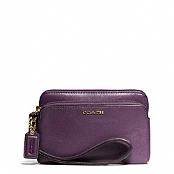MADISON LEATHER DOUBLE ZIP WRISTLET - f50310 - LIGHT GOLD/BLACK VIOLET