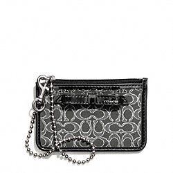 POPPY SIGNATURE C METALLIC OUTLINE ID SKINNY - SILVER/CHARCOAL/CHARCOAL - COACH F50322