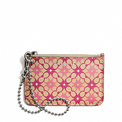 COACH WAVERLY SIGNATURE PRINT COATED CANVAS ID SKINNY - SILVER/KHAKI/MAGENTA - F50339