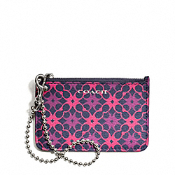 COACH WAVERLY SIGNATURE PRINT COATED CANVAS ID SKINNY - SILVER/NAVY/PINK - F50339