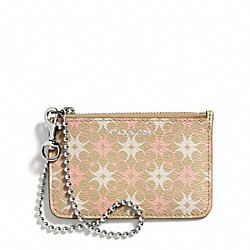 COACH WAVERLY SIGNATURE PRINT COATED CANVAS ID SKINNY - SILVER/KHAKI/LT PINK - F50339