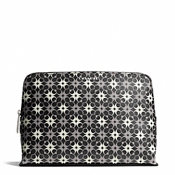 COACH WAVERLY SIGNATURE COATED CANVAS COSMETIC CASE - SILVER/BLACK/WHITE - F50362
