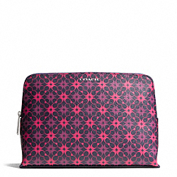 COACH WAVERLY SIGNATURE PRINT COATED CANVAS COSMETIC CASE - SILVER/NAVY/PINK - F50362