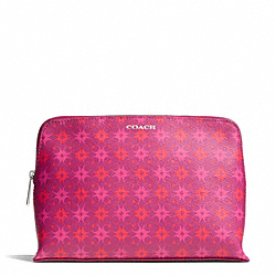 COACH WAVERLY SIGNATURE PRINT COATED CANVAS COSMETIC CASE - SILVER/MAGENTA - F50362