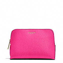 MEDIUM SAFFIANO LEATHER COSMETIC CASE - LIGHT GOLD/PINK RUBY - COACH F50371
