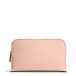 MEDIUM SAFFIANO LEATHER COSMETIC CASE - LIGHT GOLD/PEACH ROSE - COACH F50371