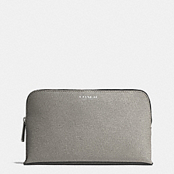 COACH MEDIUM COSMETIC CASE IN SAFFIANO LEATHER - SILVER/CEMENT - F50371