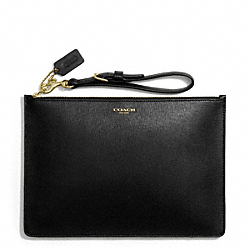 COACH SAFFIANO LEATHER FLAT ZIP CASE - BRASS/BLACK - F50372