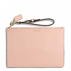 COACH SAFFIANO LEATHER FLAT ZIP CASE - LIGHT GOLD/PEACH ROSE - F50372