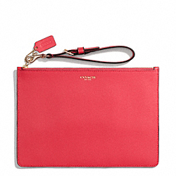 COACH SAFFIANO LEATHER FLAT ZIP CASE - LIGHT GOLD/LOVE RED - F50372
