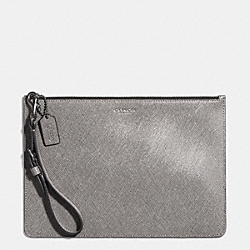 FLAT ZIP CASE IN SAFFIANO LEATHER - SILVER/CEMENT - COACH F50372