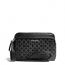 COACH MADISON DOUBLE ZIP WRISTLET IN NEEDLEPOINT OP ART FABRIC - SILVER/BLACK - F50392