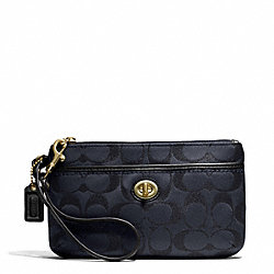 COACH CAMPBELL SIGNATURE METALLIC MEDIUM WRISTLET - BRASS/MIDNIGHT - F50422