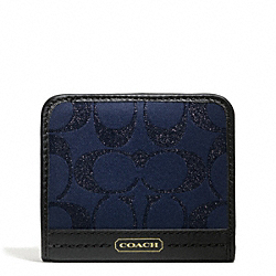 COACH CAMPBELL SIGNATURE METALLIC SMALL WALLET - BRASS/MIDNIGHT - F50424
