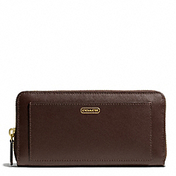 COACH DARCY LEATHER ACCORDION ZIP WALLET - BRASS/MAHOGANY - F50427