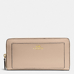 COACH DARCY LEATHER ACCORDION ZIP WALLET - BRASS/SAND - F50427