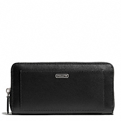 COACH DARCY LEATHER ACCORDION ZIP WALLET - SILVER/BLACK - F50427