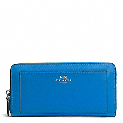 DARCY LEATHER ACCORDION ZIP WALLET - f50427 - SILVER/CERULEAN