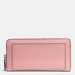 DARCY LEATHER ACCORDION ZIP WALLET - f50427 - SILVER/LIGHT PINK