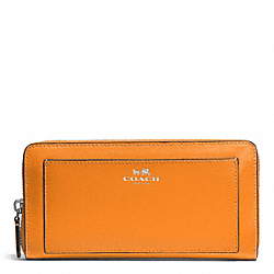 COACH DARCY LEATHER ACCORDION ZIP WALLET - SILVER/TANGERINE - F50427