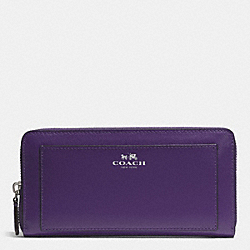 DARCY LEATHER ACCORDION ZIP WALLET - f50427 - SILVER/VIOLET