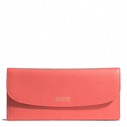 COACH DARCY LEATHER SOFT WALLET - BRASS/CORAL - F50428