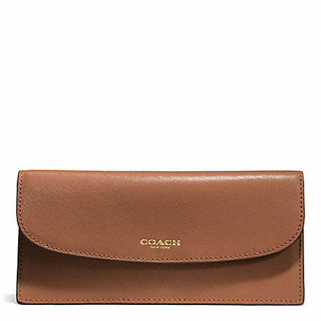 COACH DARCY LEATHER SOFT WALLET - BRASS/SADDLE - f50428