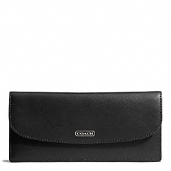 COACH DARCY LEATHER SOFT WALLET - SILVER/BLACK - F50428