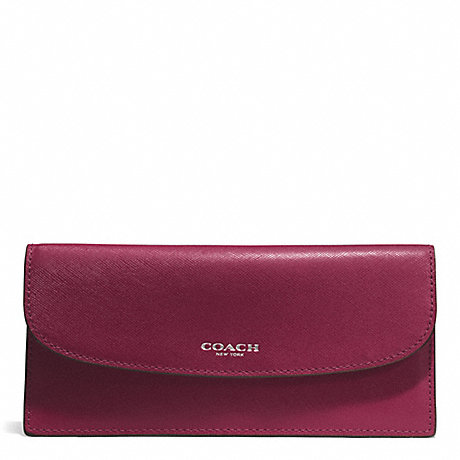 COACH f50428 DARCY LEATHER SOFT WALLET SILVER/MERLOT