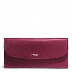 COACH DARCY LEATHER SOFT WALLET - SILVER/MERLOT - F50428