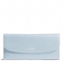 COACH DARCY LEATHER SOFT WALLET - SILVER/SKY - F50428