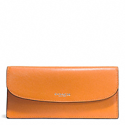 COACH DARCY LEATHER SOFT WALLET - SILVER/TANGERINE - F50428