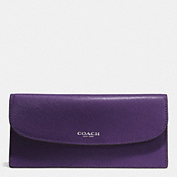 COACH DARCY LEATHER SOFT WALLET - SILVER/VIOLET - F50428
