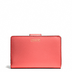 COACH DARCY LEATHER MEDIUM WALLET - BRASS/CORAL - F50431