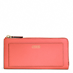 COACH DARCY LEATHER SLIM ZIP - BRASS/CORAL - F50439