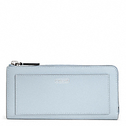 COACH DARCY LEATHER SLIM ZIP - SILVER/SKY - F50439