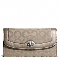 COACH TAYLOR OP ART SIGNATURE CHECKBOOK WALLET - SILVER/FLINT - F50447