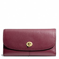 COACH TAYLOR LEATHER CHECKBOOK WALLET - BRASS/BORDEAUX - F50448