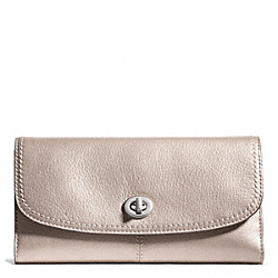 TAYLOR LEATHER CHECKBOOK WALLET - SILVER/CHAMPAGNE - COACH F50448