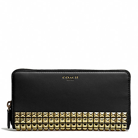 COACH STUDDED LEATHER ACCORDION ZIP WALLET - AB/BLACK - f50467
