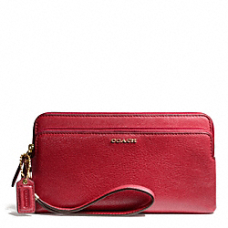 COACH MADISON LEATHER DOUBLE ZIP WALLET - LIGHT GOLD/SCARLET - F50468