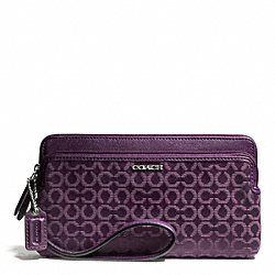 COACH MADISON NEEDLEPOINT OP ART DOUBLE ZIP WALLET - SILVER/BLACK VIOLET - F50477
