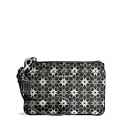 COACH WAVERLY SIGNATURE COATED CANVAS SMALL WRISTLET - SILVER/BLACK/WHITE - F50480