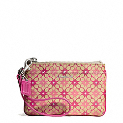 COACH WAVERLY SIGNATURE COATED CANVAS SMALL WRISTLET - SILVER/KHAKI/MAGENTA - F50480